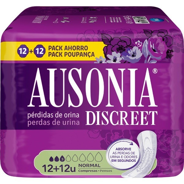 Ausonia Discreet compresas Normal 12 uds 2 x 1